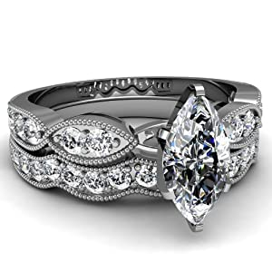 Fascinating Diamonds 1.45 Ct Marquise Cut Diamond Wedding Rings Pave Set With Milgrain 14K GIA