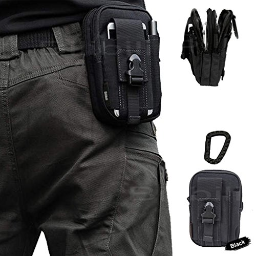 ArtcraftTM-Black-Molle-Camo-Bag-Military-1000D-Nylon-Utility-Tough-Heavy-Duty-Tactical-Compatible-Waist-Pack-Universal-Waist-Bags-Casual-Climbing-Hiking-Outdoor-Rock-Gear-Holster-Pouch-Cycling-Carryin