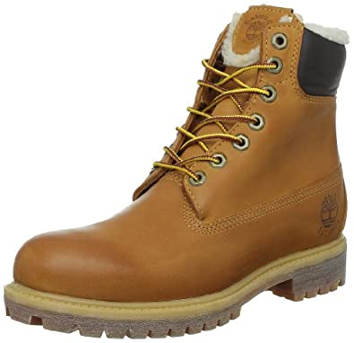 "Timberland Men's 6"" Premium Waterproof Boot Shearling Lined,Wheat Nubuck/Fleece,"