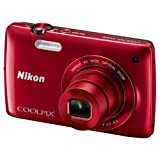NIKON COOLPIX S4200 RED COMPACT DIGITAL CAMERA BLACK 16 MP 6x OPTICAL ZOOM TFT LCD