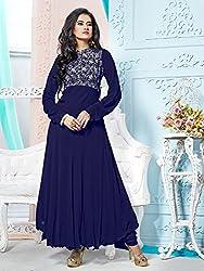 V-Kart Women's Georgette Unstitched Dress Material (Vkart_401_Blue_Free Size)