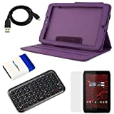 Evecase Purple PU Leather Case with Stand + Black Bluetooth Wireless Mini Keyboard + LCD Screen Protector + Micro USB Cable + Mini Brush for Motorola XOOM 2 (8.20 inches)