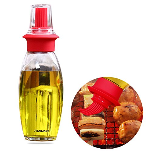 MLMSY High Temperature Resistant Silicone Oil Bottle Brush Set Transparent Glass Kitchen Pot Barbecue Bottle Brush (red) (High Sauce Pot compare prices)