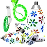 CellBig Introduces Brand New Vehical Travel iN Car Charger Adapter Compact Bullet / Capsule Shaped With Beautiful Daisy Flower Print Included Glorious Green LED Visible Flat Micro USB Synchronize Data Cable Lead Suitable For Prestigio MultiPhone 5300 Duo