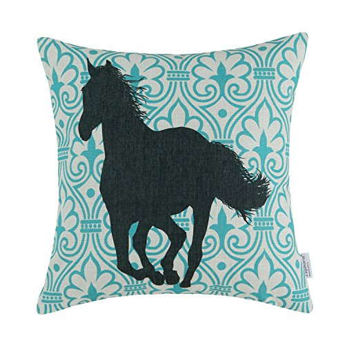 """Euphoria Home Decorative Cushion Covers Pillows Shell Cotton Linen Blend Turquoise Decor Figure with Black Horse 18"""" X 18"""""""