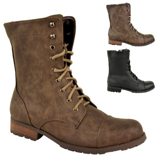 buy womens low heel flat lace up biker army