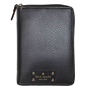 Kate Spade Black Leather Zip Around Personal Organizer Planner