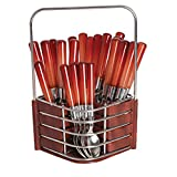 Dinette New Sensations Cutlery Set With Designer Wooden Finish Stand, 25-Piece, Cherry Brown