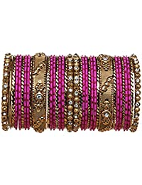 Bindhani Traditional Wedding Gold-Plated Magenta Pink Bangle Set For Women