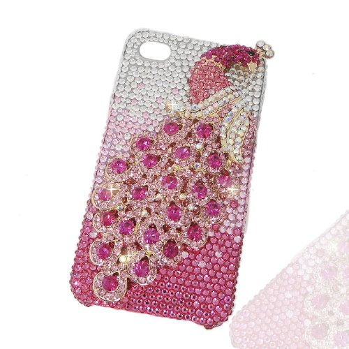 Special Sale Luxury Peacock Case for iPhone 5 with Pink Swarovski Elements Crystal[Limited Edition]