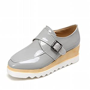 Latasa Women's Chic Square-toe Platform Mid Wedge Heel Monk Strap Oxford Shoes (8, silver)