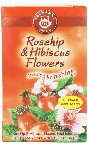 Teekanne Tea, Rose Hip & Hibiscus Flowers,  20 - Teabags, 2.12 Ounce,  (Pack Of 5)