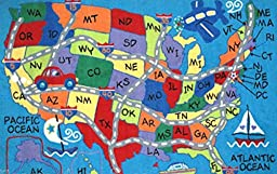 5X8 Educational Area Rug Usa Map States Kid\'S Play Road School Blue
