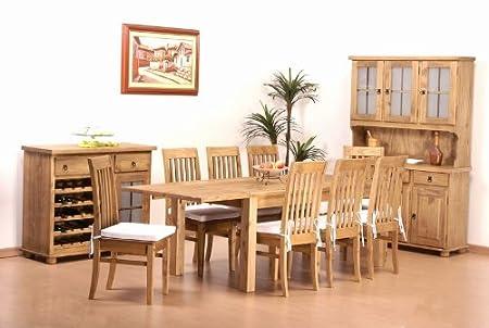 Tisch 208x90 + 8x Stuhl Klassik Pinie massiv Esszimmer Essgruppe