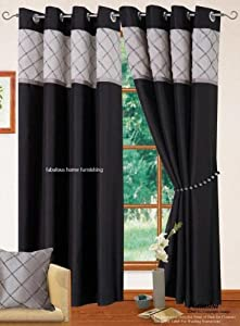 66 X 90 Black Silver Grey Ring Top Eyelet Lined Curtains Faux Silk Kitchen Home