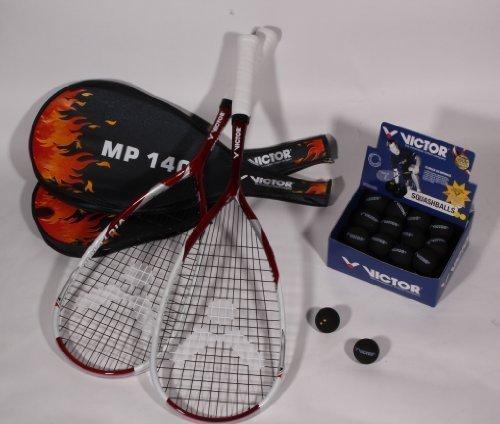 Victor 2x MP140 Squashschläger - Set inkl. Squashball & Squashtasche . Perfekt für Vereinsspieler / Spieler die regelmässig spielen 125g Graphite 504cm