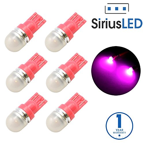 SiriusLED Super Bright 1W 360 Degree Projector LED Bulbs for Interior Car Lights Gauge Instrument Panel License Plate Dome Map Side Marker Courtesy T10 168 194 2825 W5W Pink Violet Purple Pack of 6 (Gauge Led Light For Dodge Ram 08 compare prices)