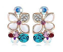 Jewel Queen 18K Rose Gold Plated White Enamel Flower Crystal Stud Earring For Women & Girls