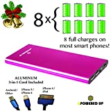 BLACK FRIDAY SALE!!! bPowered UP® ZOOM Highest Rated Power Bank - Premium Ultra-thin Portable External Battery Charger - TRUE-12000 mAh - DUAL USB - Works on all Cell Phones & Tablets - iPhone, Samsung, iPads -  Aluminum 3-in-1 Cord with Lightening Plug Included - (Magenta)