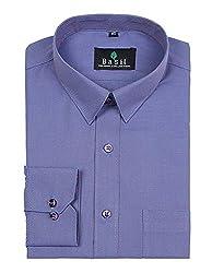 Basil Men's Poly Cotton Formal Shirt (BA380PLC49FSF-42, Blue, 42)