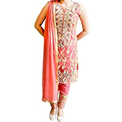 Reet Glamour Women 's Georgette Unstitched Salmon Heavy Pent Style Embroidered Suit