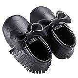 waylongplus Prewalker infantil suave soled borla Bowknots Cuna zapatos PU Moccasins negro negro Talla:11 (3-6 Months)