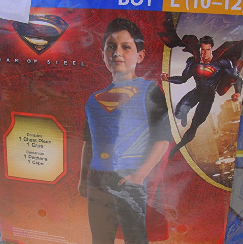Superman Man of Steel Chest Piece and Cape Boys Large