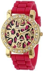 Cerentino Women's CR105-FS  Fuchsia Silicone Rubber Leopard Print Dial Watch