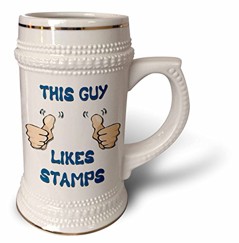 Blonde Designs This Guy Likes With Thumbs - This Guy Likes Stamps - 22oz Stein Mug (stn_150476_1)