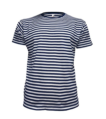 Eppo Brand Short Sleeve Fancy French Russian Striped Sailors Marine Navy Blue & White T-shirt Telnyashka M (M, Navy Blue & White)