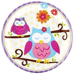 Owl Blossom Dessert Plates (8) Party Supplies from CelebrateExpress