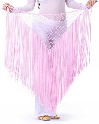 DQdq Women's Tassel Net Belly Dance Hip Wrap Scarf Pink (Pink Indian Sari Adult Costume)