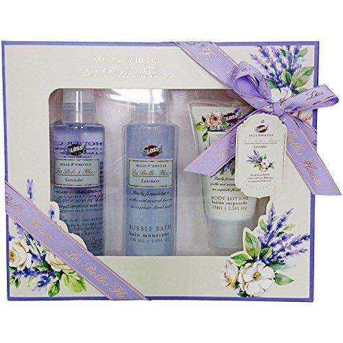 gloss-set-da-regalo-con-prodotti-per-il-bagno-les-belles-fleurs-su-vassoio-aroma-lavanda-5-pz