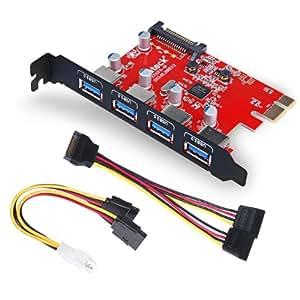 Inateck USB3.0増設ボード 4ポート インターフェースボード 4つ外部端子搭載 PCI Express x1(Rev.2※)用 USB3.0 PCIE card
