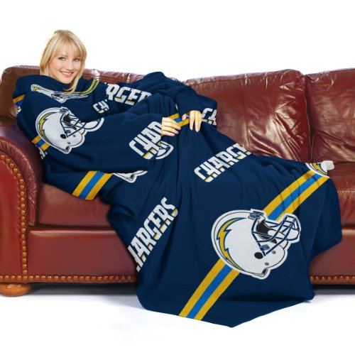 San Diego Chargers Blanket: NFL San Diego Chargers Comfy Throw Blanket With Sleeves