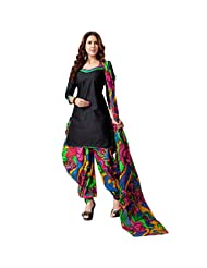 Sonal Trendz Black Color Patiyala Pure Cotton Dress Material.Festive Wear Pure Cotton Suit With Lace