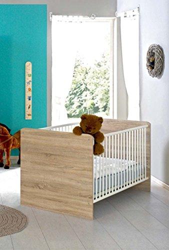 Kinderbett-Babybett-komplett-Set-ELISA-inkl-Lattenrost-70-x-140-cm-hhenverstellbar-in-Eiche-Sonoma-wei-umbaubar-zum-Juniorbett-Made-in-Germany-100-zertifiziert