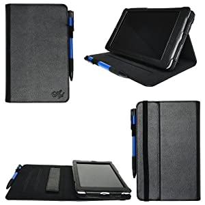 Accessorise Google Nexus 7 inch Tablet -Black Leather Folio Case Cover with Built-in Multi-Angle Stand