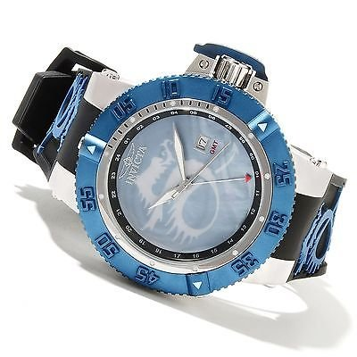 Men's Slightly Blemished 'Noma III Lume Dragon' Blue Watch, Brushed and Polished Stainless Steel, Comes with Black Leather Strap & Mother of Pearl, with a Dragon Motif, Water Resistant