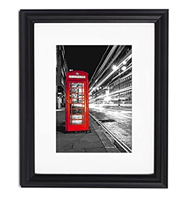 11x14 Decorative Black Picture Frame - Matted to Display Photographs 8x10 or 11x14 Without Mat - Highest Quality Materials - Ready to Display on Wall or Table Top - Imported from Europe