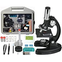 AMSCOPE-KIDS M30-ABS-KT51/M30-ABS-KT2 52-pcs 120x-1200x 6-Powers Metal Frame Kids Student Beginner Compound Microscope Kit
