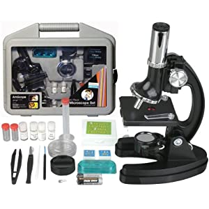AmScope M30-ABS-KT51 51-piece 300x-600x-1200x Metal Frame Kids Student Beginner Compound Microscope Kit