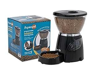 Aspen Pet LeBistro Portion Control Automatic Pet Feeder, Black, 5 pounds.