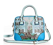 Buenocn Women Retro Print Graffiti Shoulder Bag Pu Leather Handbag Ls3111