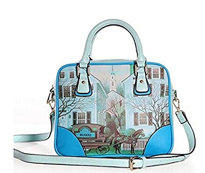 Buenocn Women Retro Print Graffiti Shoulder Bag Pu Leather Handbag Ls3111