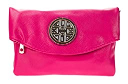Canal Collection Multi Purpose Soft Foldable PVC Cross Body Clutch with Emblem (Hot Pink)