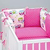 Set de 10 piezas de ropa de cama de beb�: protector de cuna 6 unidades, Edred�n para beb� tama�o grande, con funda de edred�n, funda de almohada, dise�o de puntos, color fucsia oreiller., dise�o de lechuza, color blanco rosa rosa Talla:lit b�b� de 12