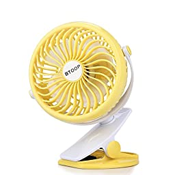 BTOOP Clip on Fan Battery Fan Portable Clip to Baby Stroller and Table with a 18650 Battery, Rechargeable, Quietness (Yellow, 5\