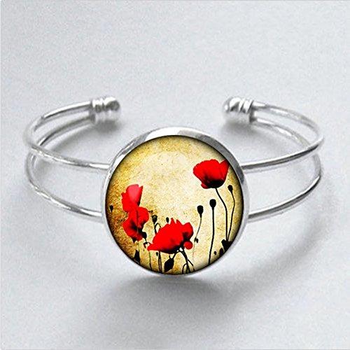 gifts-for-poppy-red-flowers-bracelet-silver-poppy-bracelet-for-men-for-her-for-him