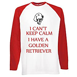 Keep Calm Dogs Collection 1, Fruit of the Loom Mens Long Sleeve Baseball White / Red Tee T shirt with Colourful Design. Sizes S M L XL 2XL.